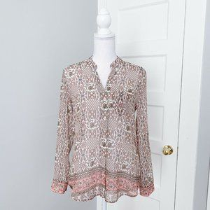NWT Kut from the Kloth Floral Button Blouse Pink
